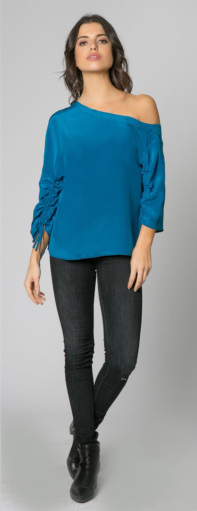 Persian Teal Long Sleeve Off One Shoulder Silk Top by Lavender Brown - 1