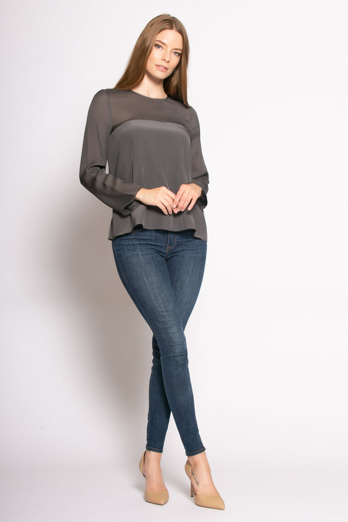 Charcoal Long Sleeve Illusion Neck Silk Blouse by Lavender Brown - 1