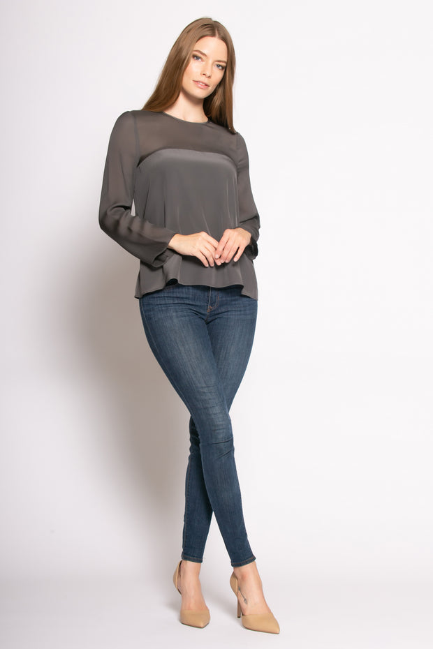 Charcoal Long Sleeve Illusion Neck Silk Blouse by Lavender Brown 001