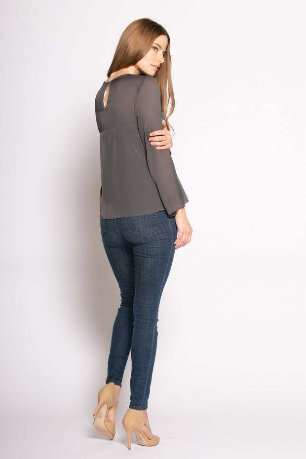 Charcoal Long Sleeve Illusion Neck Silk Blouse by Lavender Brown 002