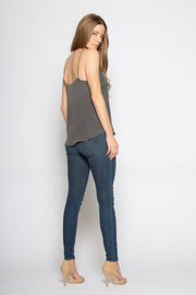 Charcoal Contrast Silk Cami Tank Top by Lavender Brown 002