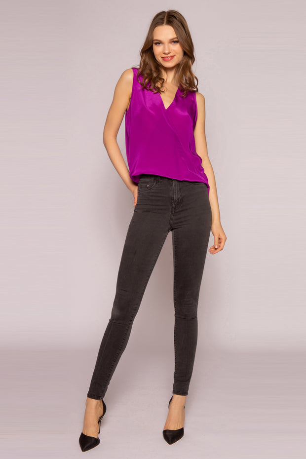Plum High Low Silk Top by Lavender Brown 001
