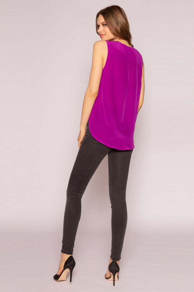 Plum High Low Silk Top by Lavender Brown 002