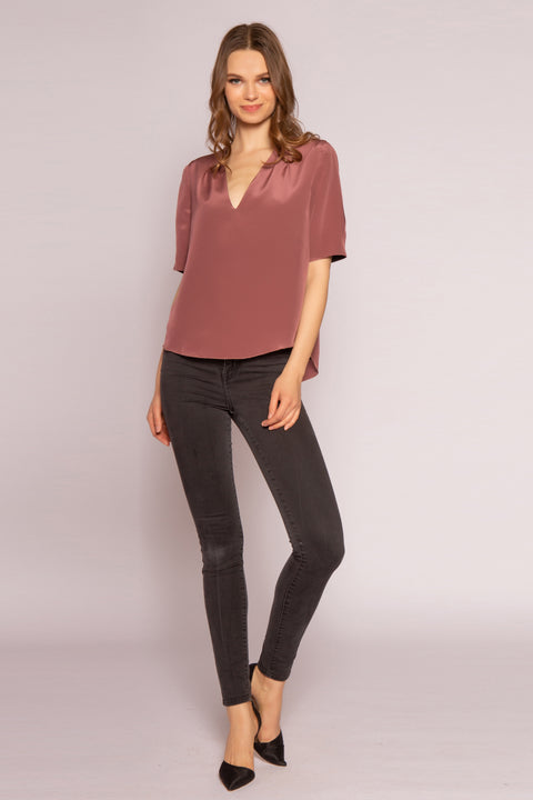 Mulberry Short Sleeve Silk Top by Lavender Brown 001
