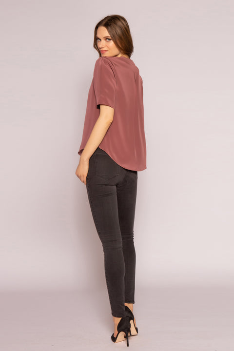 Mulberry Short Sleeve Silk Top by Lavender Brown 002