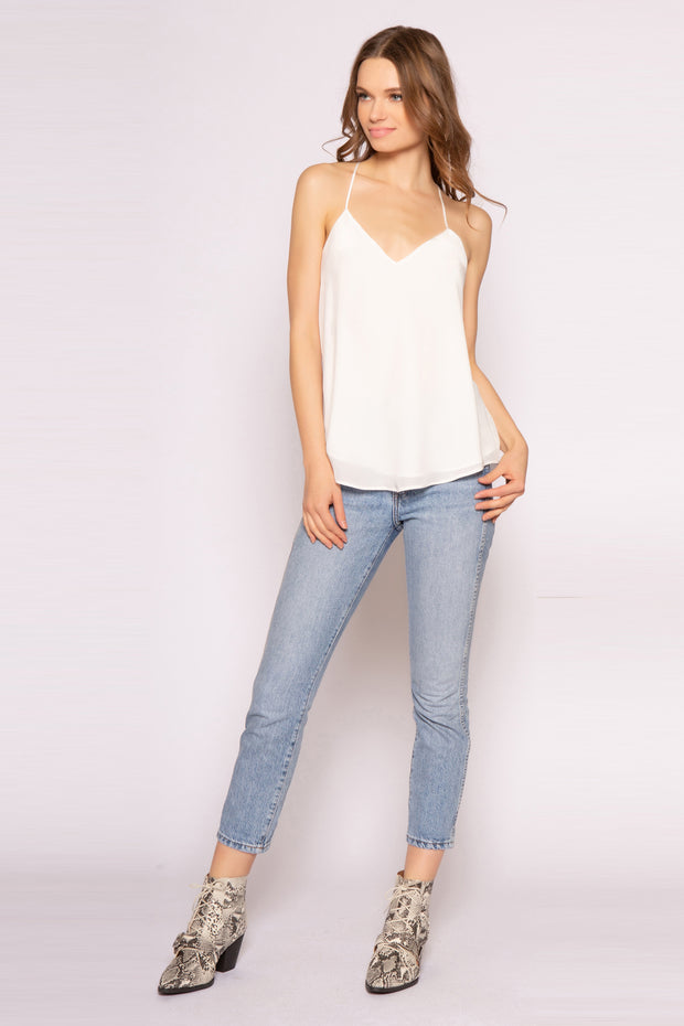 Ivory Racerback Silk Cami Tank Top by Lavender Brown 001