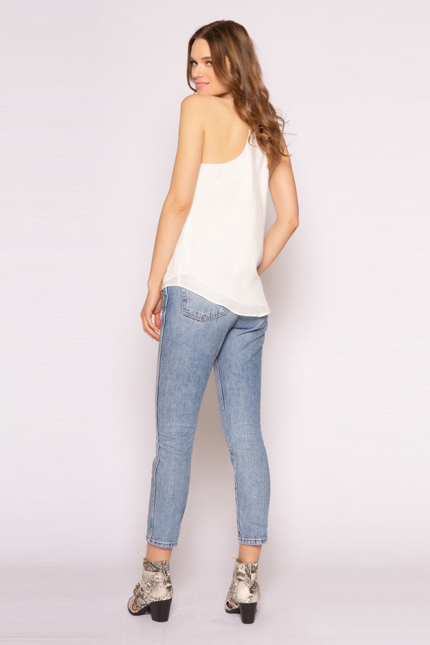 Ivory Racerback Silk Cami Tank Top by Lavender Brown 002