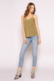 Army Green Racerback Silk Cami Top by Lavender Brown 001