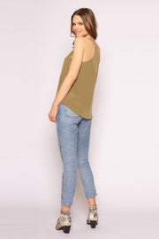 Army Green Racerback Silk Cami Top by Lavender Brown 002