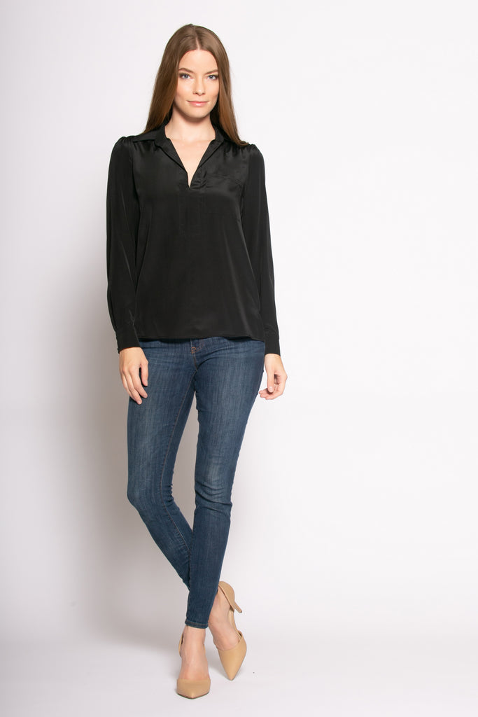 Black Long Sleeve Pullover Silk Blouse by Lavender Brown - 1