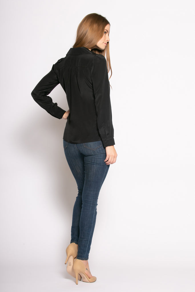 Black Long Sleeve Pullover Silk Blouse by Lavender Brown - 2