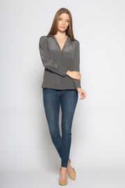 Charcoal Long Sleeve Pullover Silk Blouse by Lavender Brown 001