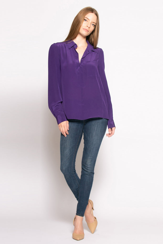 Purple Long Sleeve Pullover Silk Blouse by Lavender Brown - 1