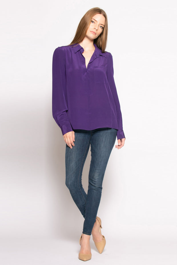 Purple Long Sleeve Pullover Silk Blouse by Lavender Brown 001
