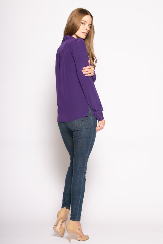 Purple Long Sleeve Pullover Silk Blouse by Lavender Brown 002