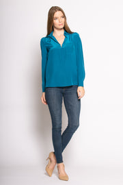 Persian Teal Long Sleeve Pullover Silk Blouse by Lavender Brown 001