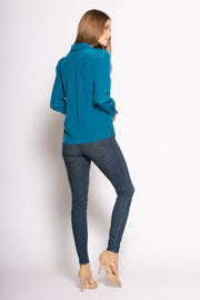 Persian Teal Long Sleeve Pullover Silk Blouse by Lavender Brown 002