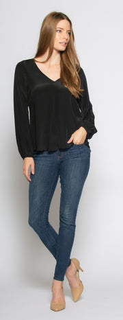 Black Long Sleeve V-Neck Silk Blouse by Lavender Brown - 1