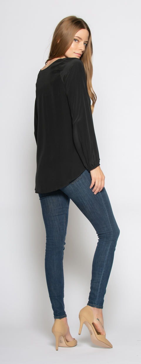 Black Long Sleeve V-Neck Silk Blouse by Lavender Brown - 2