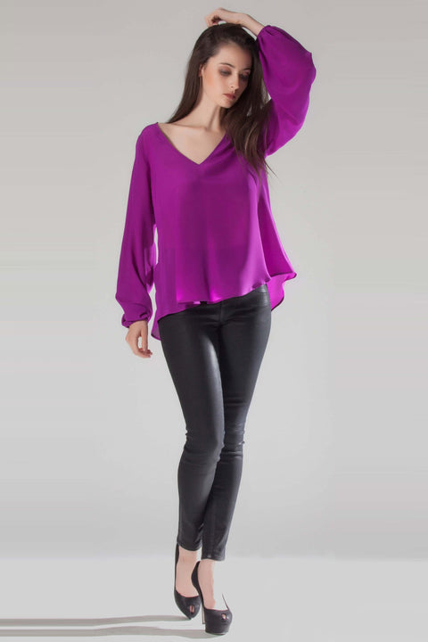 Grape Long Sleeve V-Neck Silk Blouse by Lavender Brown 001