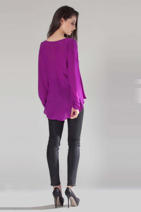 Grape Long Sleeve V-Neck Silk Blouse by Lavender Brown 002