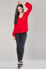 Strawberry Long Sleeve V-Neck Silk Blouse by Lavender Brown 001