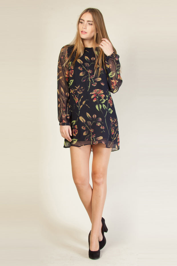 Navy Long Sleeve Silk Floral Shift Dress by Lavender Brown 001