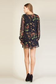 Navy Long Sleeve Silk Floral Shift Dress by Lavender Brown 002