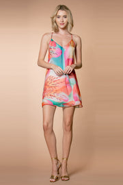 Coral Aqua Silk Racerback Floral Slip Dress by Lavender Brown 001