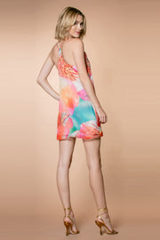 Coral Aqua Silk Racerback Floral Slip Dress by Lavender Brown 002