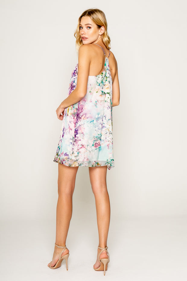 GARDEN PARTY PRINTED SILK STRAPPY SWING DRESS
