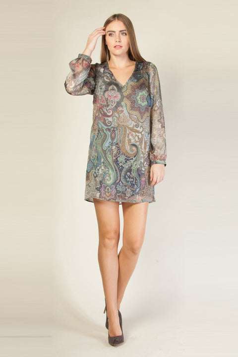 Mauve Open Back Paisley Silk Shift Dress