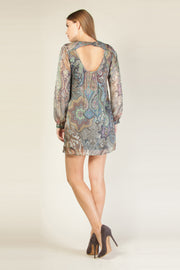 Mauve Open Back Paisley Silk Shift Dress by Lavender Brown 002
