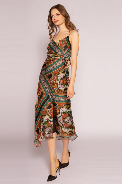 Green Silk Floral Midi Dress by Lavender Brown 001