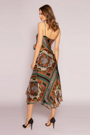 Green Silk Floral Midi Dress by Lavender Brown 002