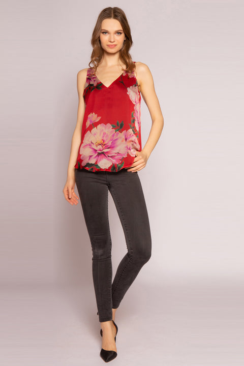 Red Multi V-Neck Silk Floral Tank Top by Lavender Brown 001