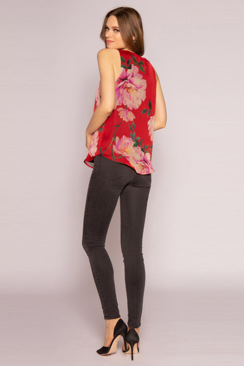 Red Multi V-Neck Silk Floral Tank Top by Lavender Brown 002