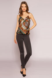 Green Multi V-Neck Floral Silk Cami Top by Lavender Brown 001