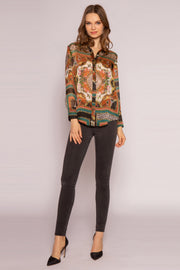 Green Multi Silk Floral Shirt by Lavender Brown 001