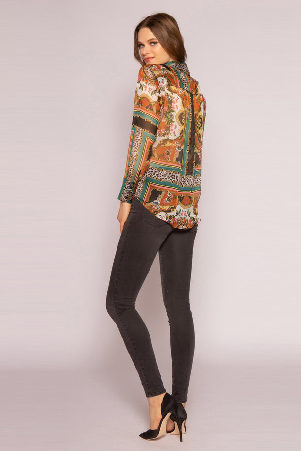 Green Multi Silk Floral Shirt by Lavender Brown 002
