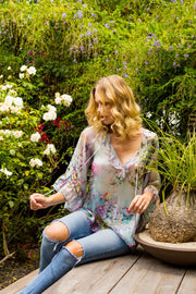 Floral Print Silk Bohemian Top-Tops-Lavender Brown