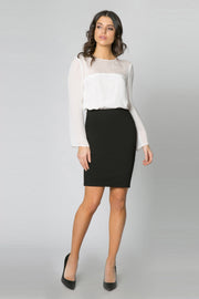 Black Ponte Pencil Skirt by Lavender Brown 001