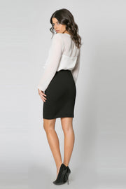 Black Ponte Pencil Skirt by Lavender Brown 002