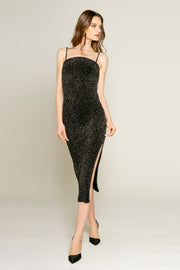 Black Lurex Texture Knit Midi Bodycon Dress by Lavender Brown 001