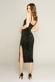Black Lurex Texture Knit Midi Bodycon Dress by Lavender Brown 002