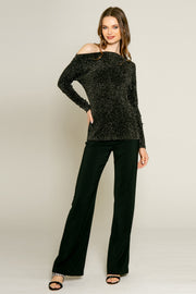 Black Lurex Texture Knit Blouse by Lavender Brown 001