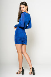 Long Sleeve Bodycon Dress With Side Ruching 002