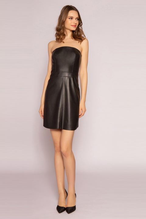 Black Leather Strapless Mini Dress by Lavender Brown 001