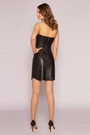 Black Leather Strapless Mini Dress by Lavender Brown 002