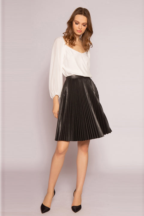 Black Leather Pleated Skirt by Lavender Brown 001
